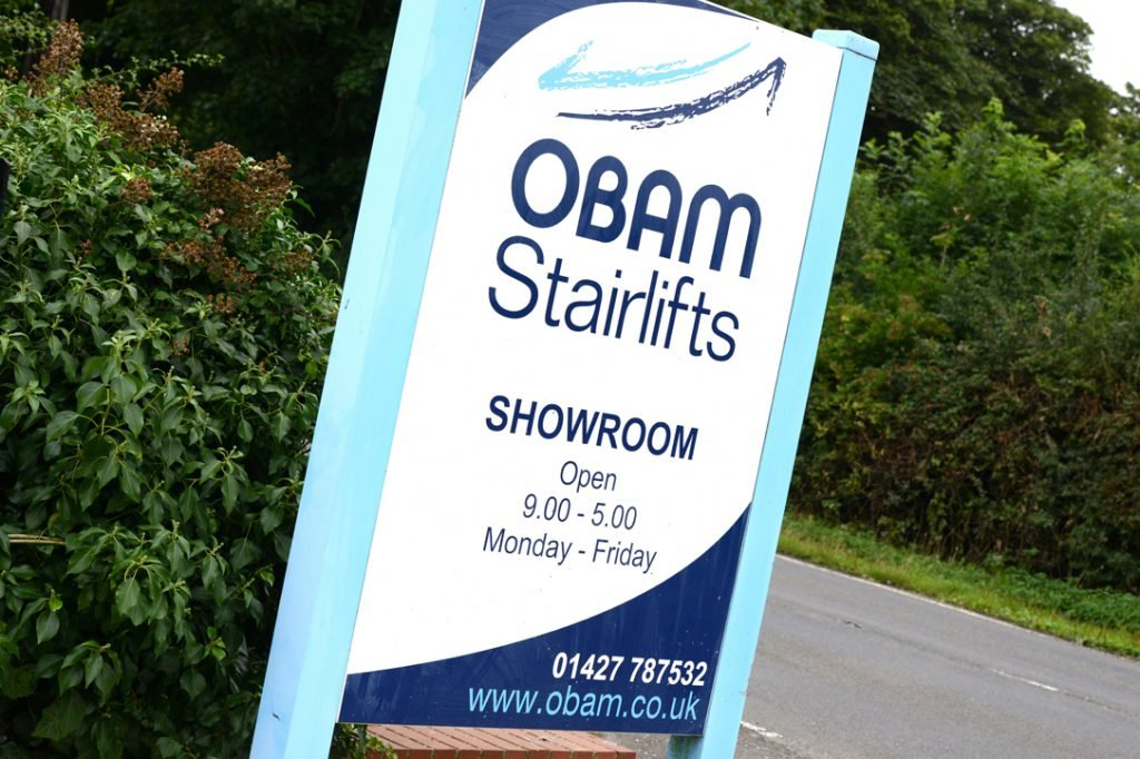 The Obam Stairlifts showroom sign in Sturton-by-stow near lincoln, lincolnshire