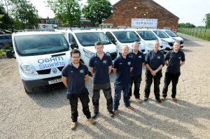 Picture of some of Obam Stairlift's engineers at the start of their shift