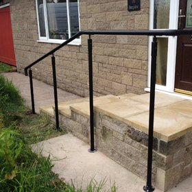 Picture of the handrail system making existing steps safer.