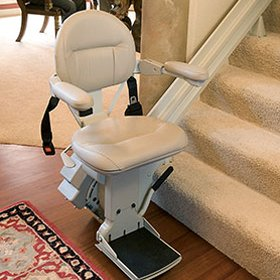 Picture of straight stairlift ready for use
