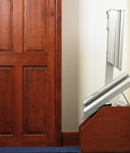 """""""Image showing the Handicare 1000 hinged rail in raised position"""