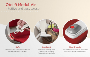 Picture showing features of the oto Air stair lift