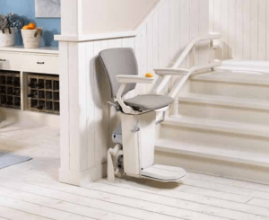 Picture of Otolift TWO curved stairlift in grey fabric