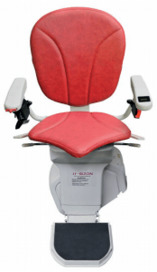 Picture of Platinum Horizon Stairlift with red upholstery