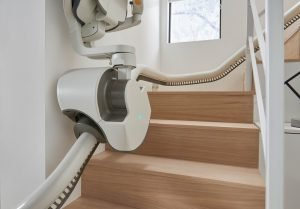 side view of FlowX Stairlift folded
